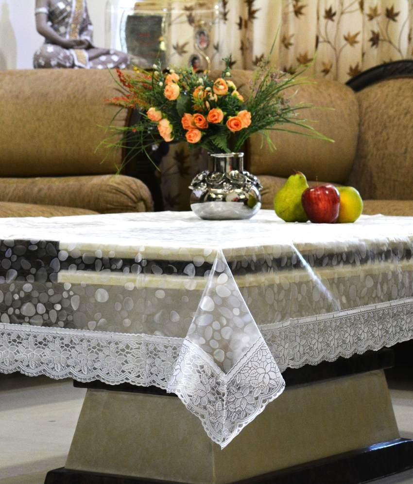 ... Kuber Industries Dining Table Cover Transparent 3D 6 Seater