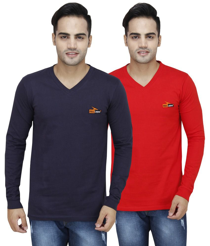 PRO Lapes Multicolor Cotton T - Shirt - Set of 2