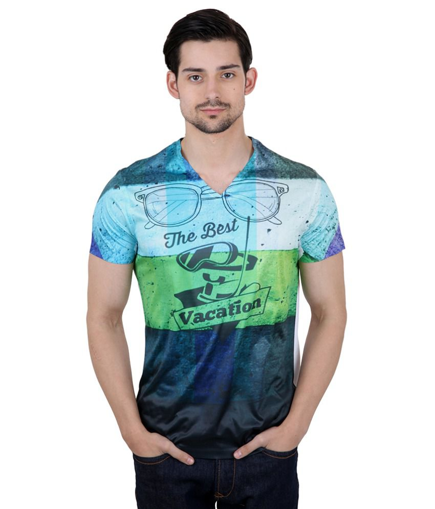 Freecultr Express Multicoloured Poly Blend T-shirt