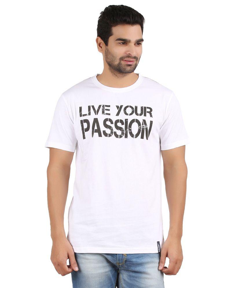 Livup White Cotton Printed Half Sleeves Round Neck T - Shirt