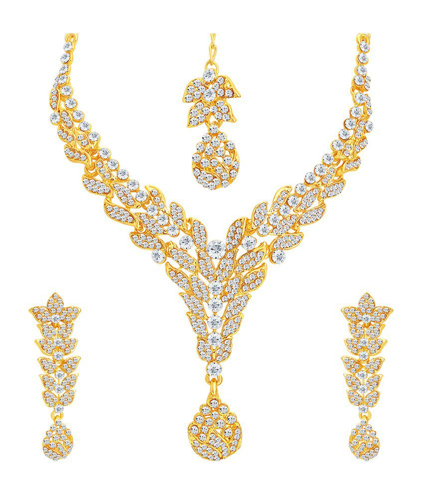Sukkhi Marvellous Gold Plated Necklace Set with Maang Tika for Women