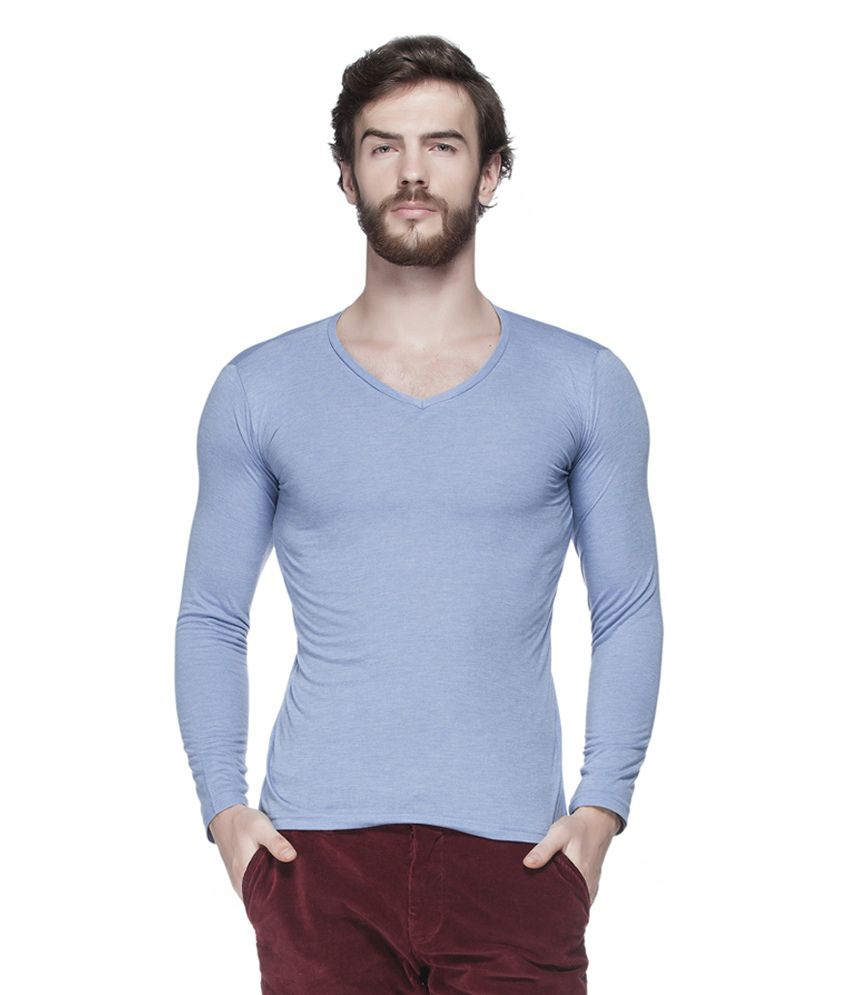 Tinted Blue Cotton Blend Solid Men's T-Shirt