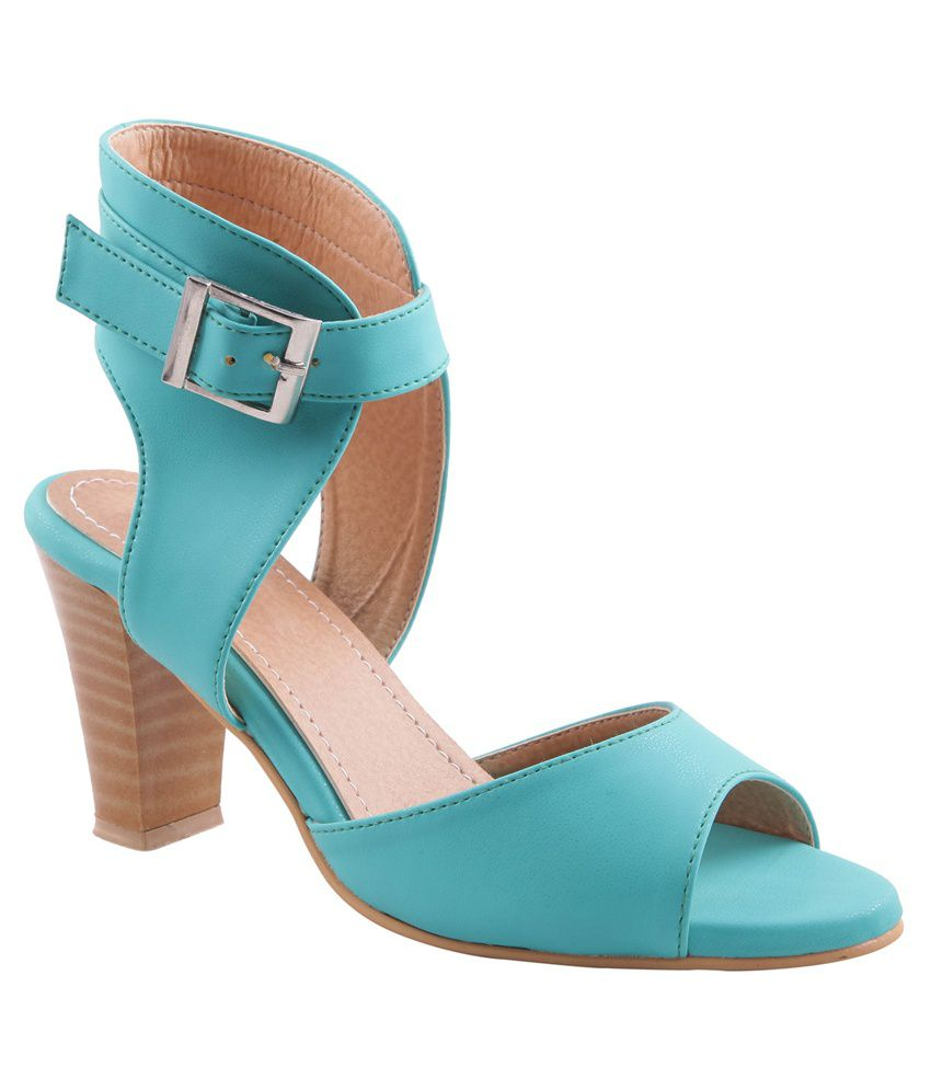 Adorn Turquoise Block Heel Sandals