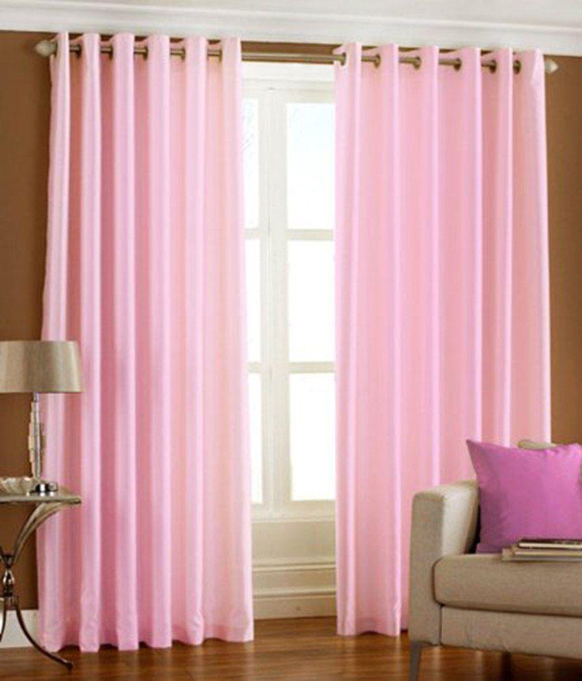 Tanishka Fabs Set of 2 Door Eyelet Curtains Solid Pink