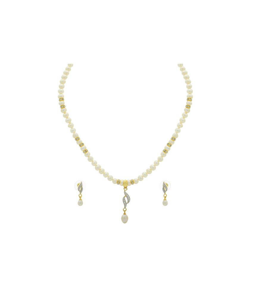 5772e7697d7 Hyderabad Jewels Natural Fresh water pearls necklace set available at SnapDeal  for Rs.1089