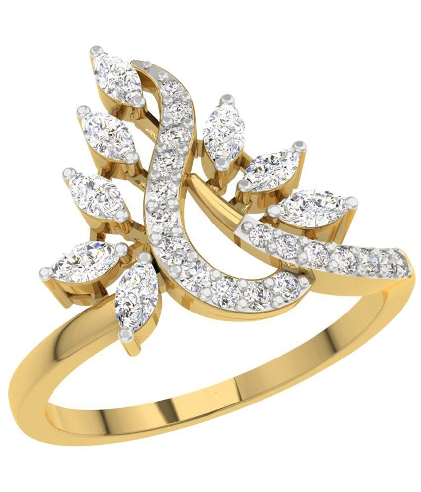 TBZ - The Original 18KT Yellow Gold Everyday Wear Ladies Ring with 0.41cts Diamonds
