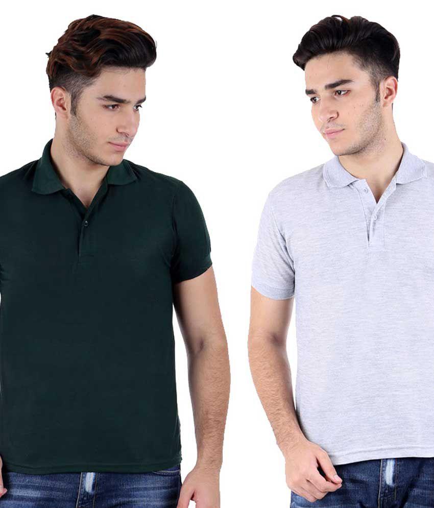 Christy World Multicolor Half Sleeve Basic Polo T-shirt - Pack Of 2
