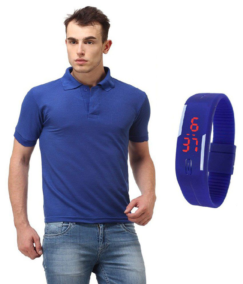 Lime Blue Cotton Blend Polo T Shirt With LED Watch