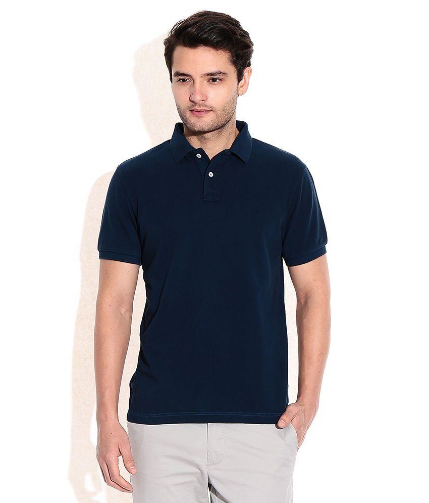 Unique Tshirts Navy Half Sleeves Basic Wear Polo T-Shirt