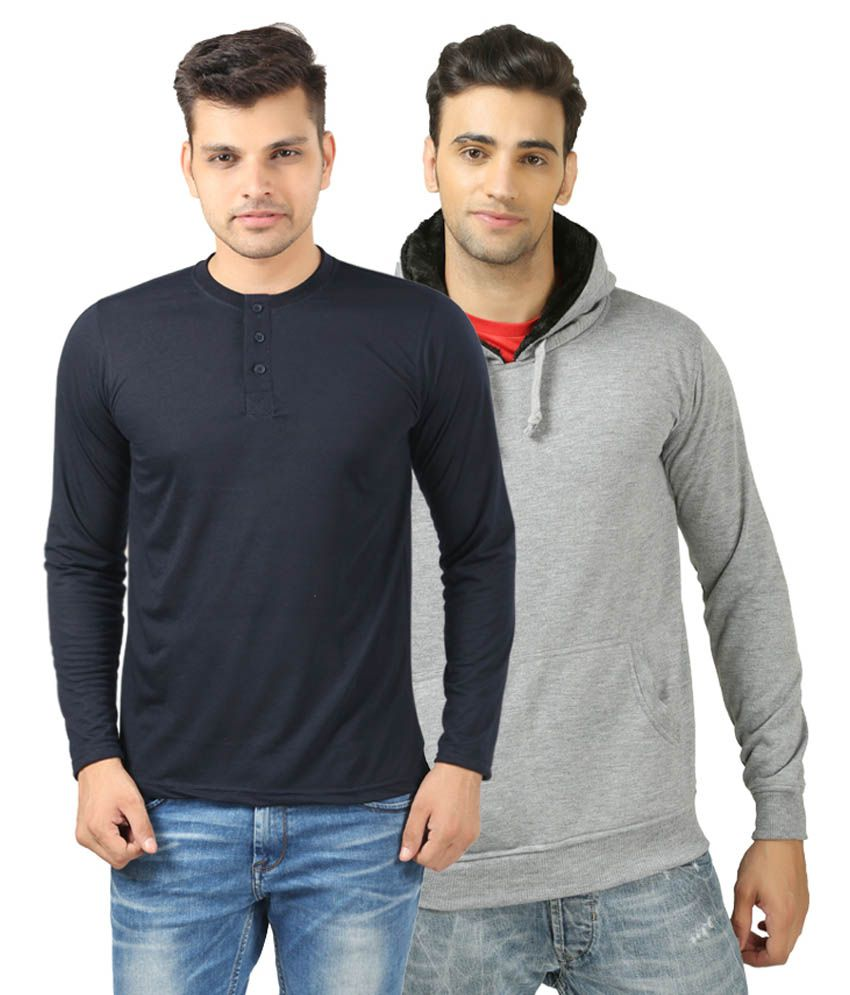 Etoffe Combo Of Henley T-Shirt With Sweat Shirt
