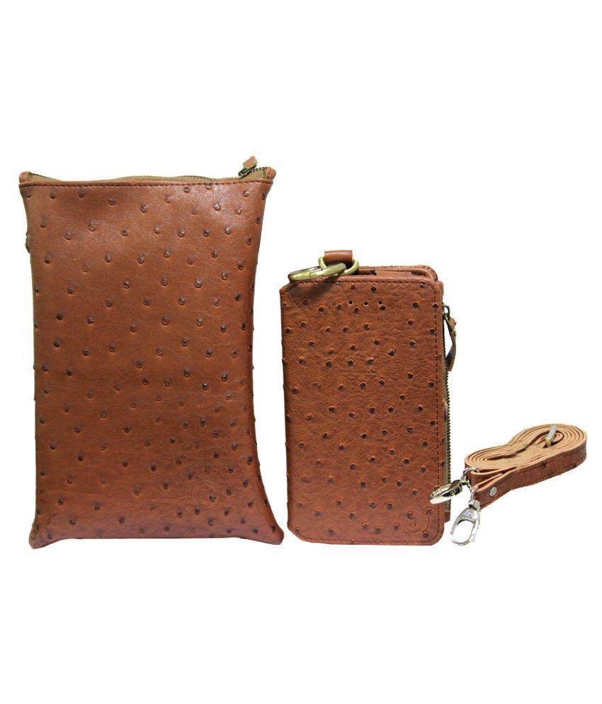 Jo Jo Wallet Case With Pouch Pouch for Spice Stellar Buddy Mi315 - Brown