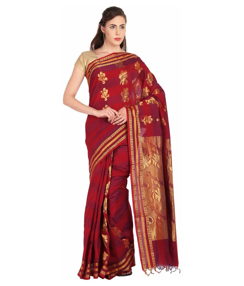 Platinum Red Silk Saree