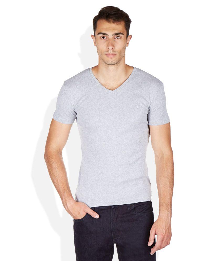 Attitude Grey Cotton T-Shirt