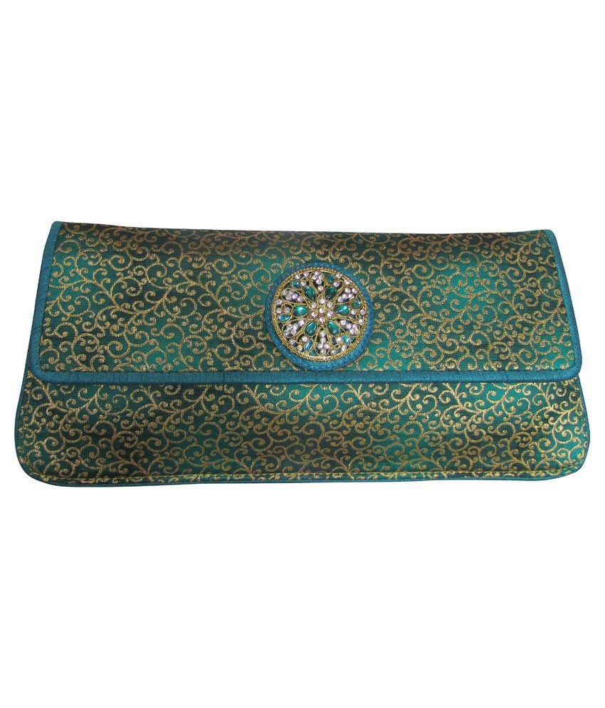 Balee Fashions Green Magnit Button Clutch
