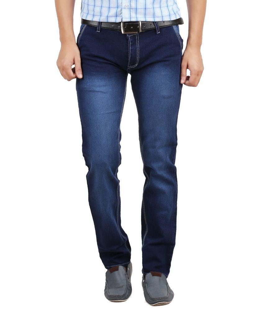 Sewn Blue Regular Fit Jeans