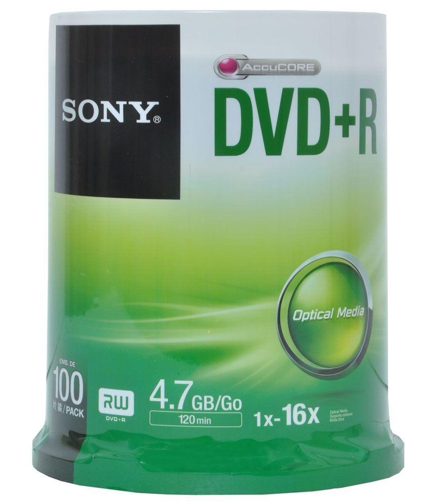 Sony DVD+R 4.7GB 1x-16x Blank DVD - Pack Of 100