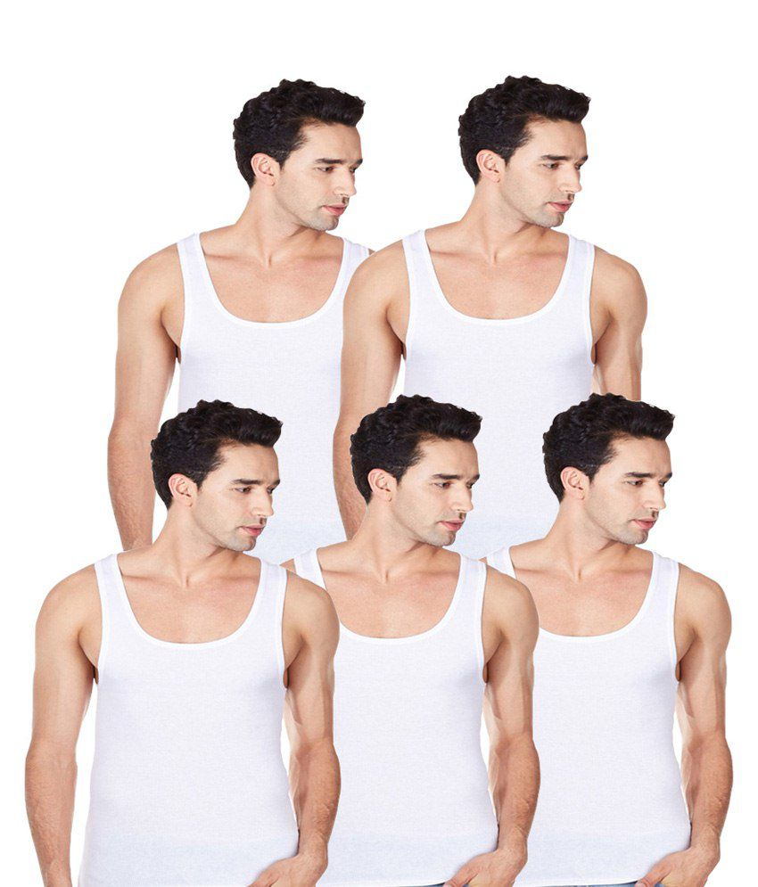 Saadgi Collections White Cotton Vest Pack Of 5