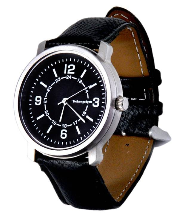 Techno Gadgets Techno Gadgets Black Leather Analog Casual Watch