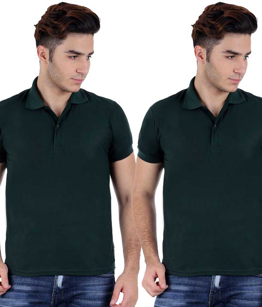 Christy's Collection Green Half Sleeve Basic Polo T-shirt - Pack Of 2