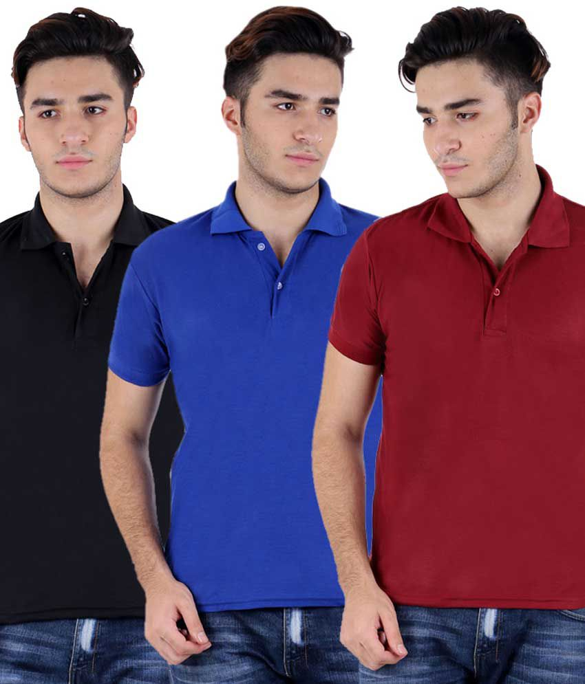 Christy's Collection Multicolor Half Sleeve Basic Polo T-shirt - Pack Of 3