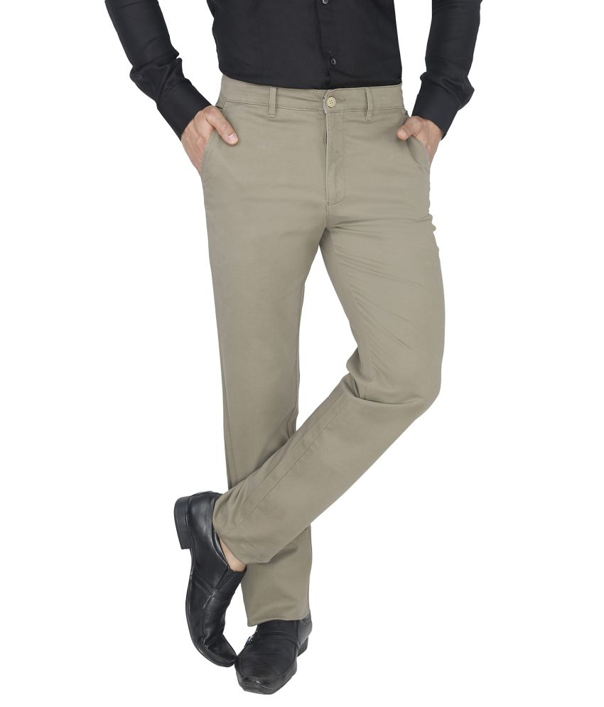 Live In Grey Slim Fit Formal Flat Trousers
