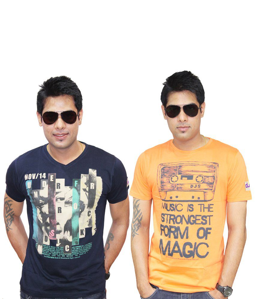 Eteenz Pack of 2 Blue & Yellow Cotton Half Sleeve T Shirts