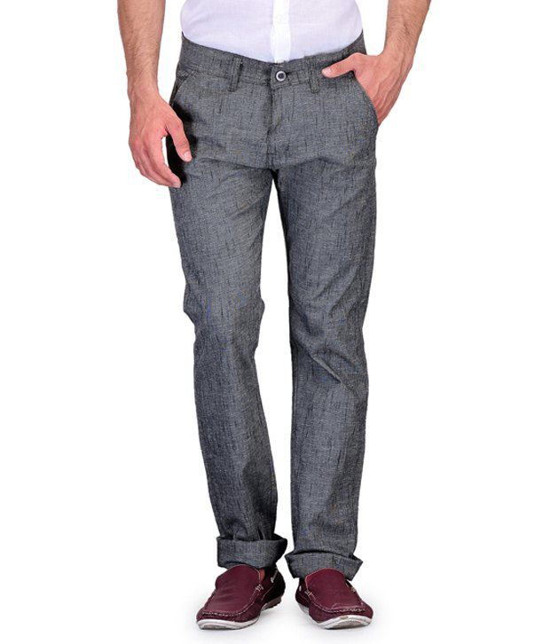 Fever Grey Slim Fit Casuals Flat Trouser