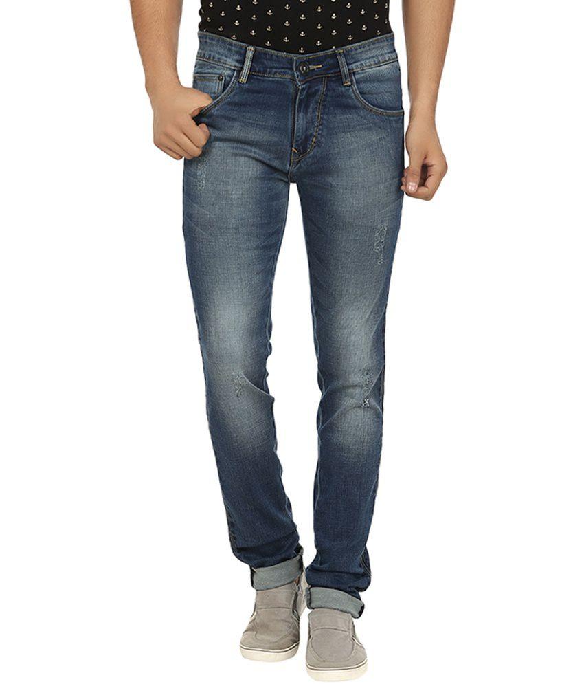 La Marino Navy Blue Cotton Blend Slim Fit Jeans