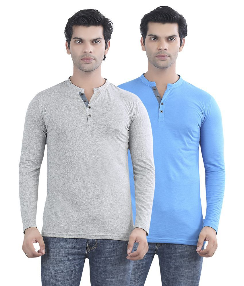 Maniac Grey And Blue Cotton T-shirt - Pack Of 2
