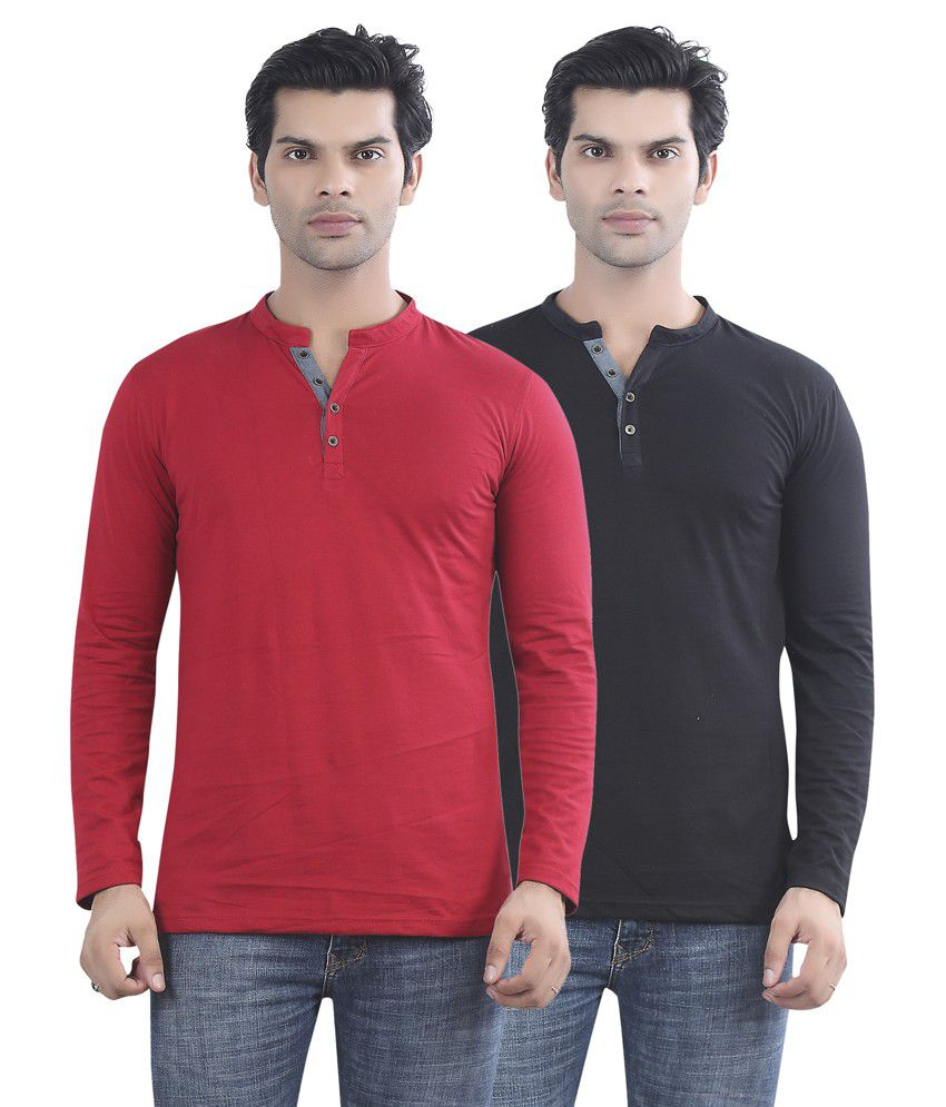 Maniac Red And Black Cotton T-shirt - Pack Of 2