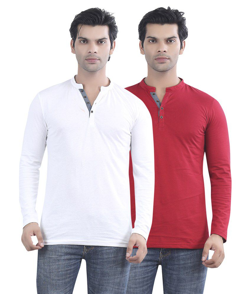 Maniac White And Red Cotton T-shirt - Pack Of 2