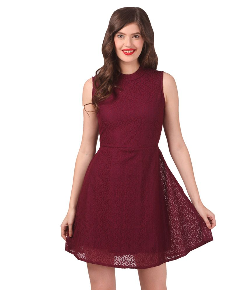 509633c133d2 Eyelet Maroon Lace Dress - Buy Eyelet Maroon Lace Dress Online at Best  Prices in India on Snapdeal