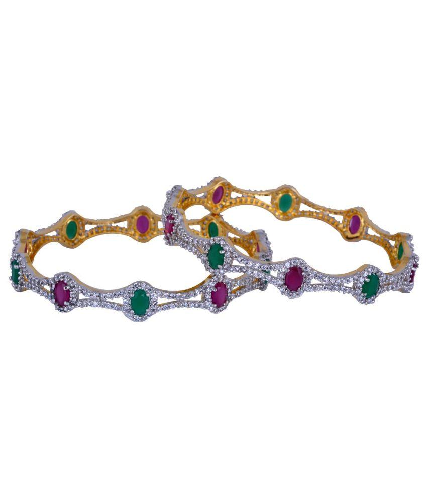 Pearls Cart Multicolour Alloy Bangle Set