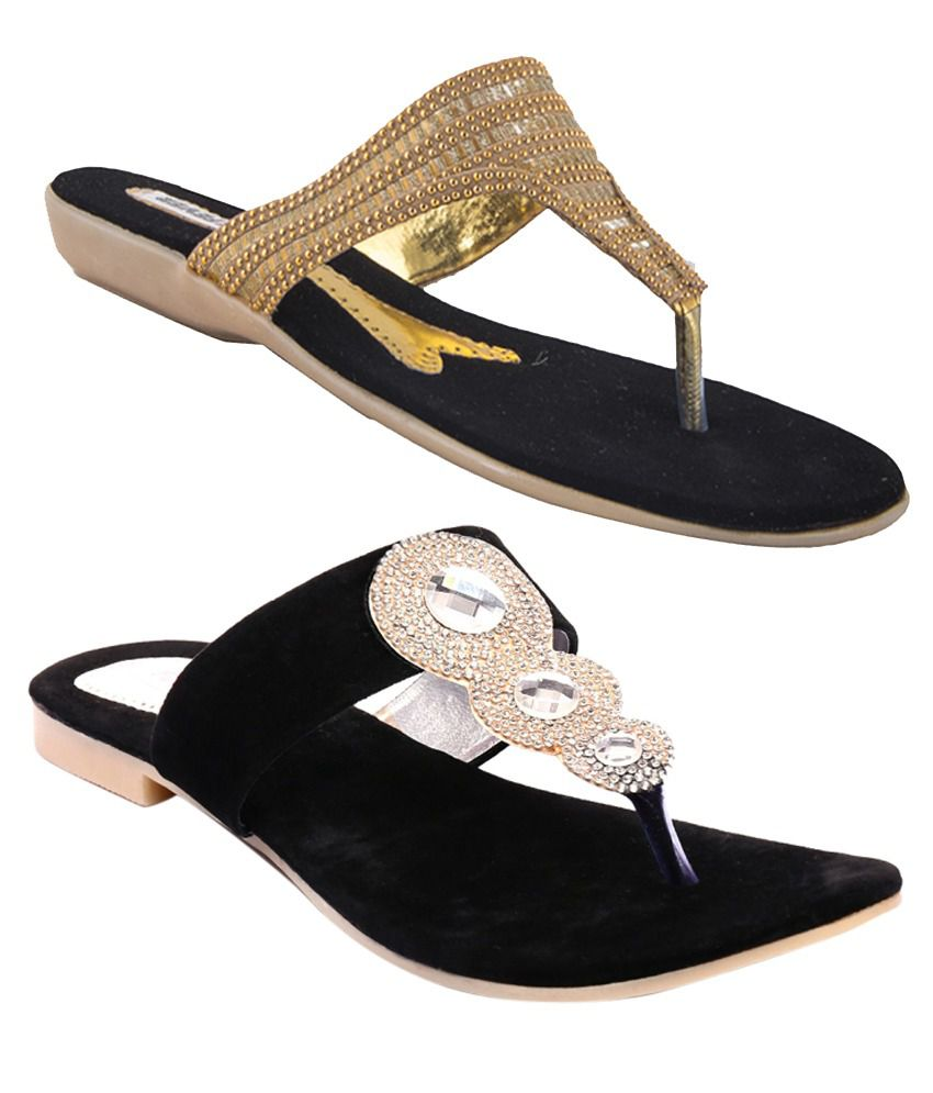 Pink Fever Faux Leather Gold & Black Sandals - Combo of 2
