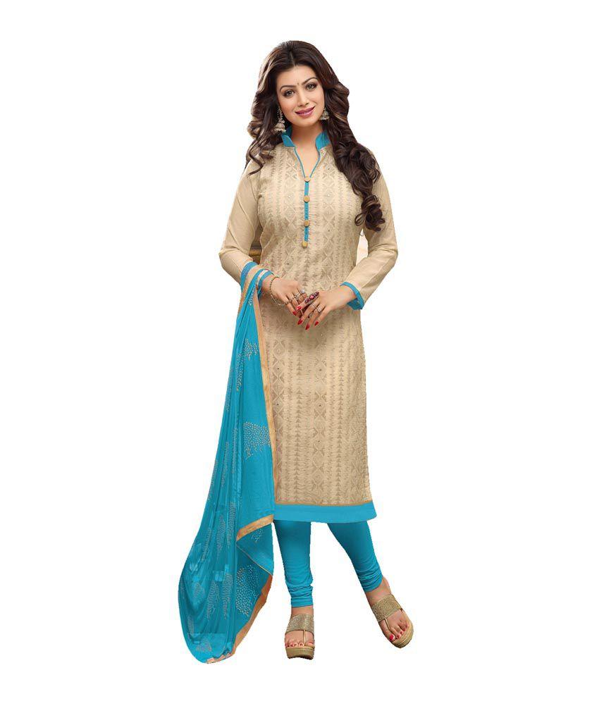 HPD Beige Cotton Semi Stitched Dress Material