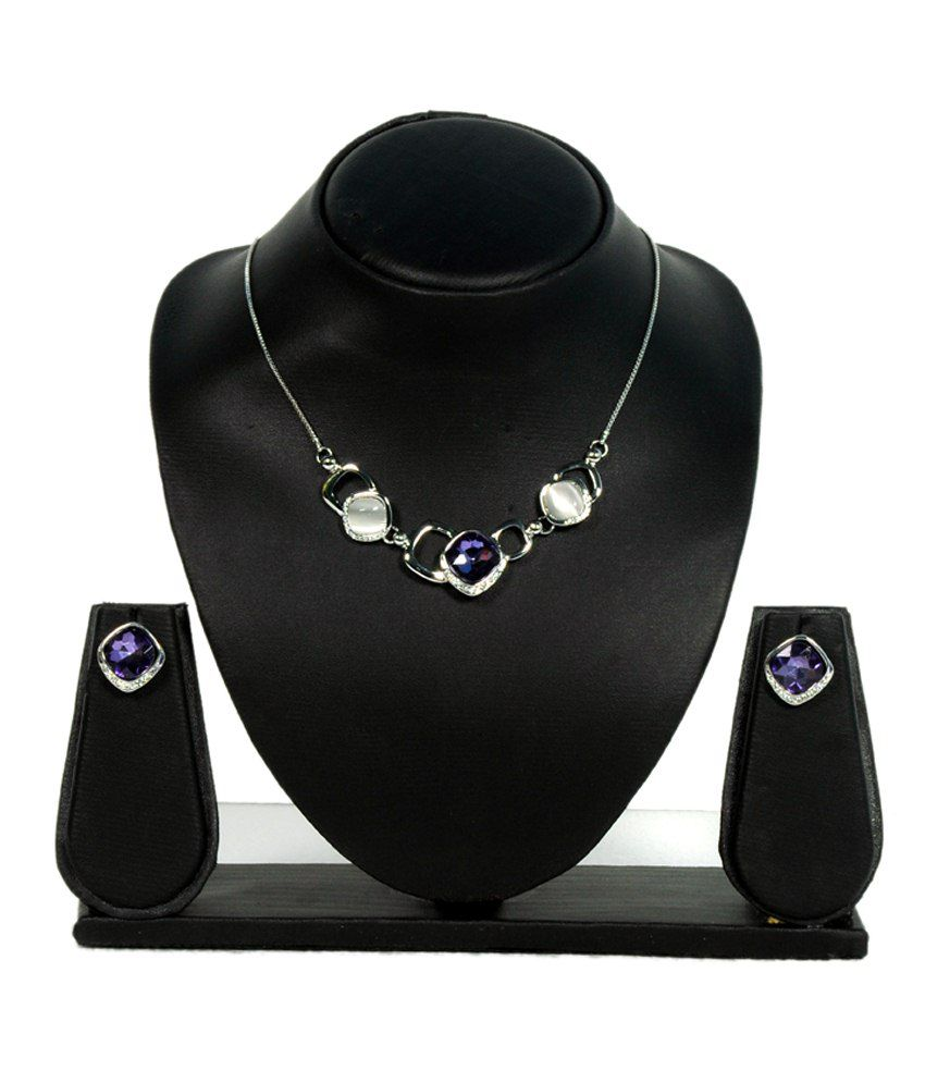 Saaj Jewels Purple & Silver Alloy Necklace Set