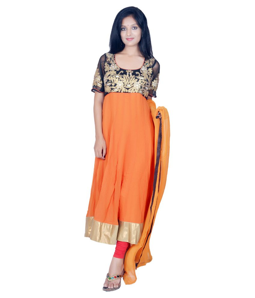 Tehzeeb Orange Faux Georgette Stitched Suit