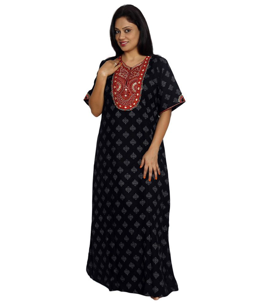 a3aecd9d99 Buy Bipasha Black Cotton Nighty Online at Best Prices in India - Snapdeal