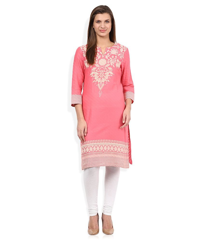 7570d47541f Global Desi Pink Round Neck Printed Kurta - Buy Global Desi Pink Round Neck  Printed Kurta Online at Best Prices in India on Snapdeal