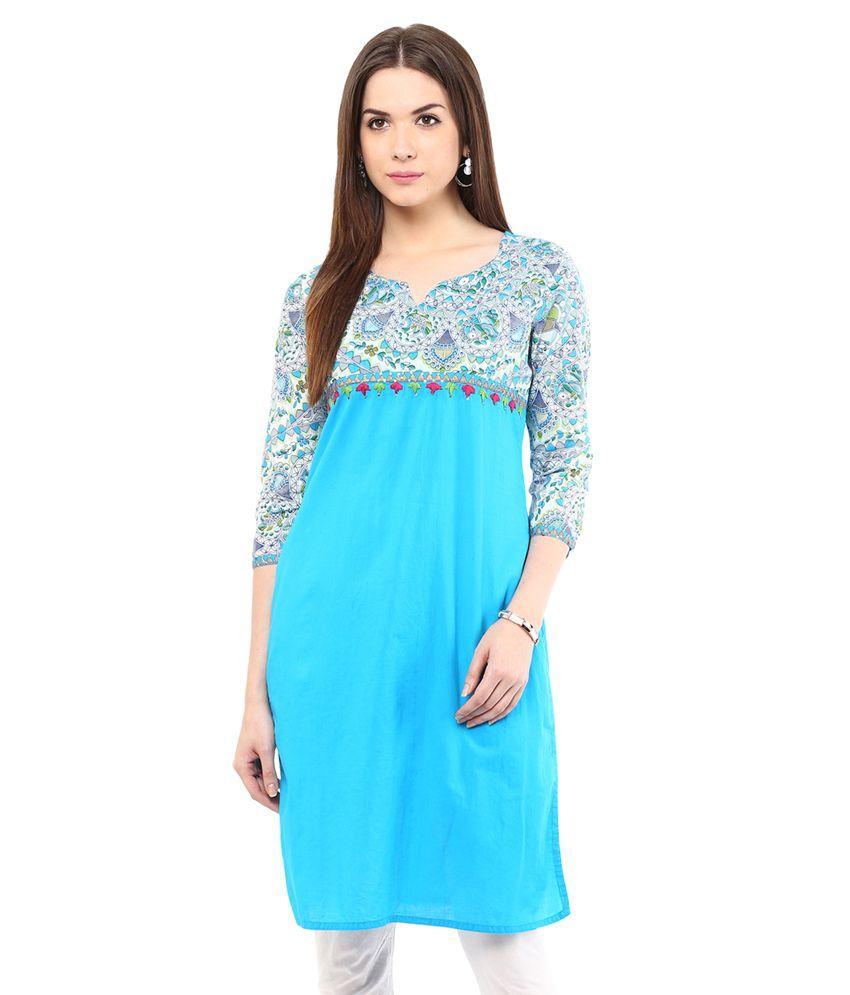 Indi Dori Blue Cotton Kurti