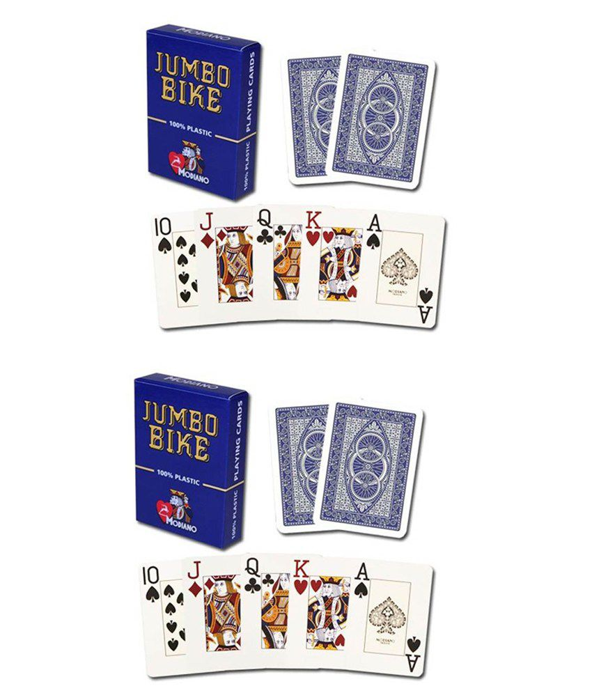 Modiano Bike Trophy Jumbo Playing Cards - Blue (Buy 1 Get 1 Free)