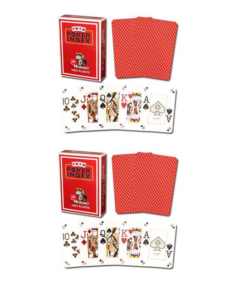 Modiano Red Poker Index Casino Cards (Buy 1 Get 1 Free)