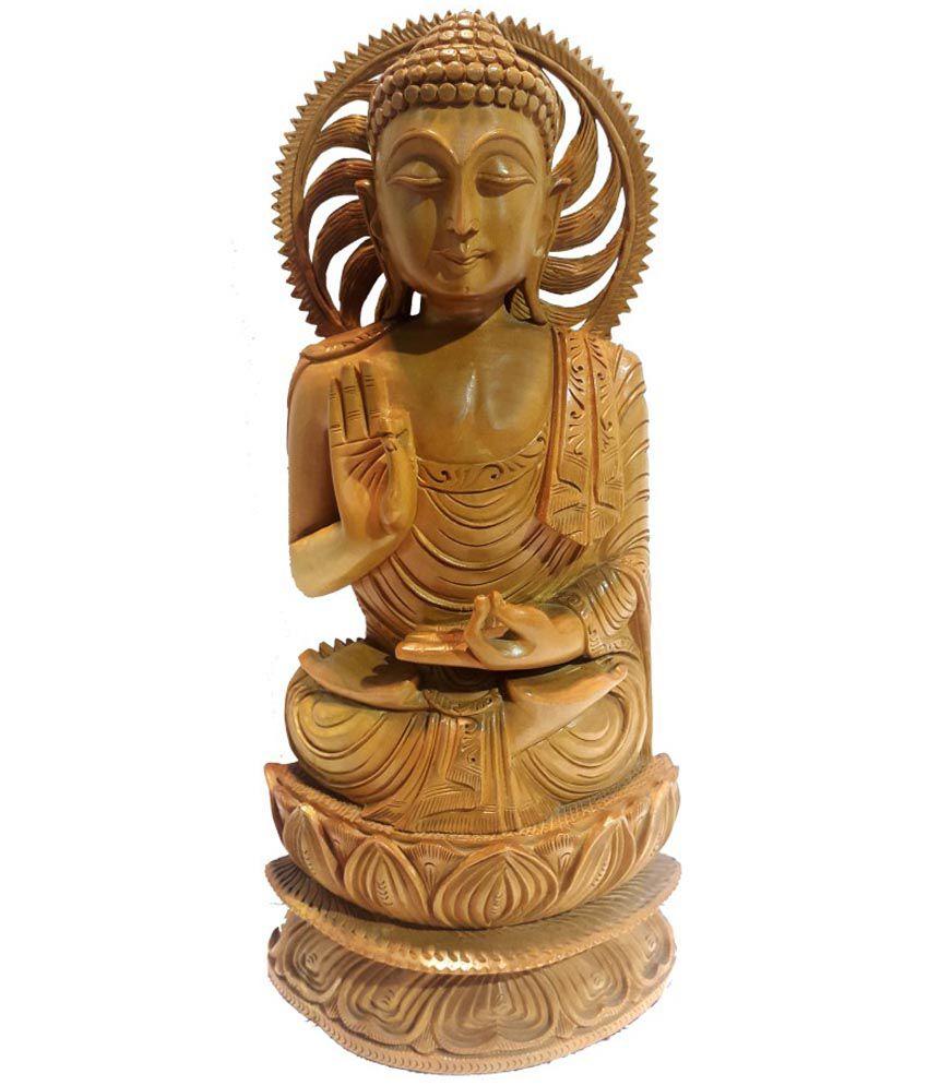 Sccottage Brown Wooden God Idol Buddha