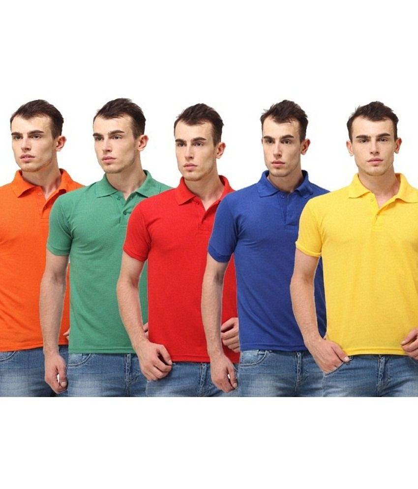 Shoppersstreet Multicolour Half Basic Polo T Shirt Pack Of 5