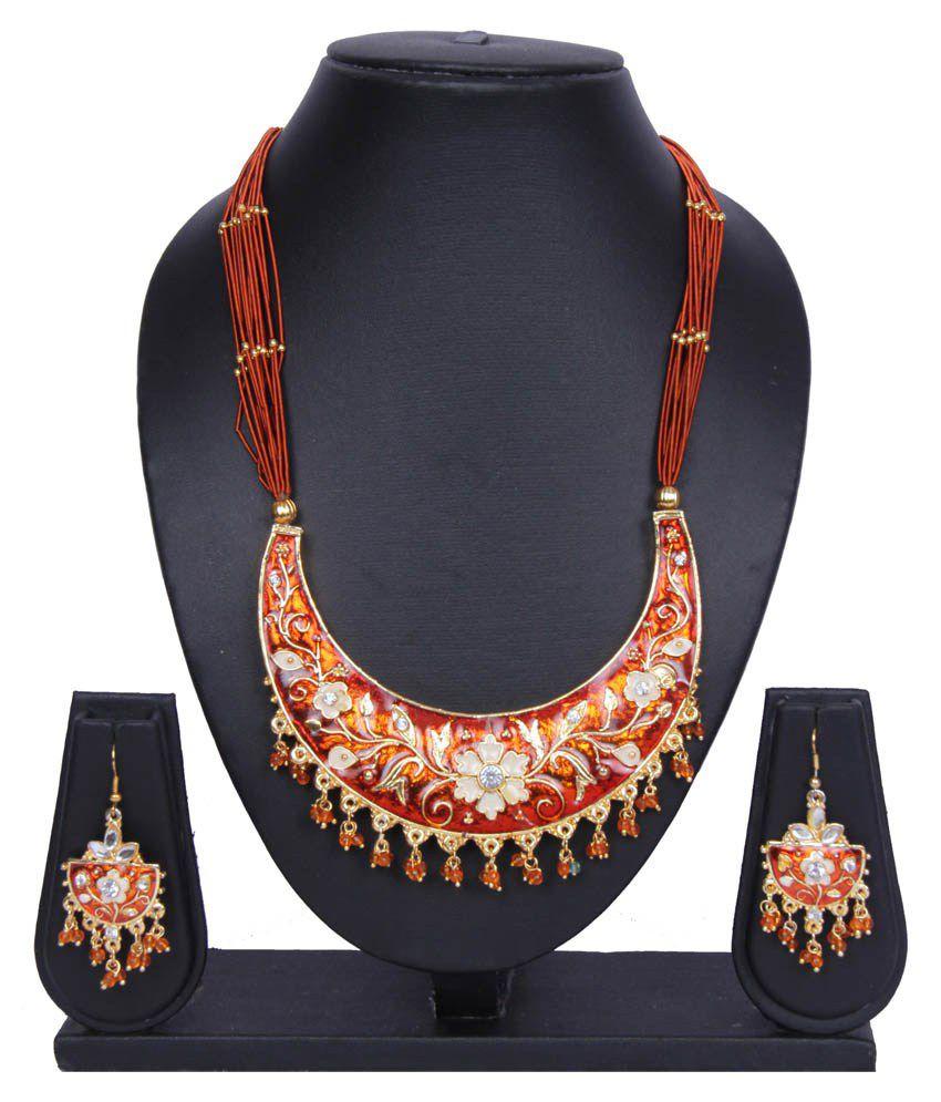 Traditsiya Orange Alloy Necklace Set