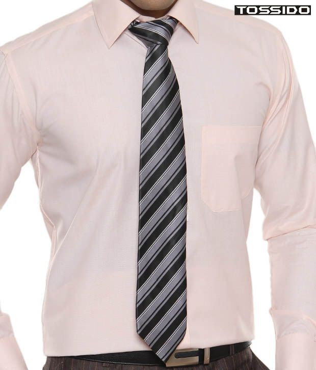 Tossido Black & Grey Striped Tie