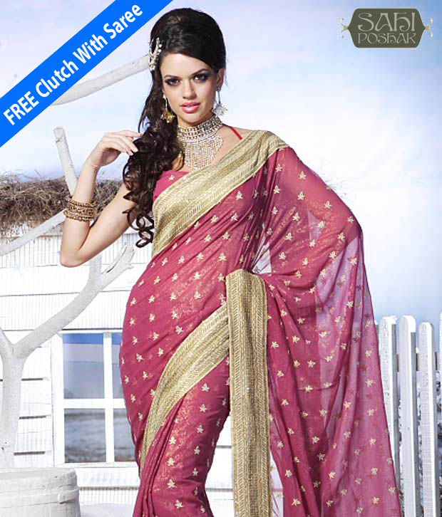 Sahi Poshak Multicoloured Chiffon Saree