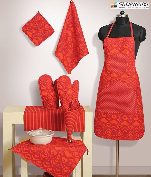 Kitchen Linen Set: Swayam Orange Printed Kitchen Linen Set