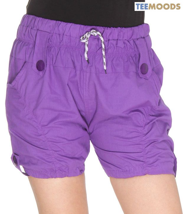 TeeMoods Purple Cotton Shorts