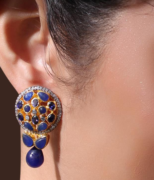 Iris Jewels Lustrous Blue Earrings